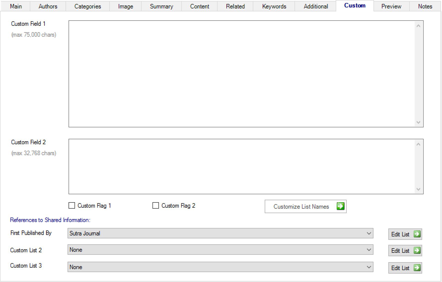 OmniChannel Article Management Custom tab